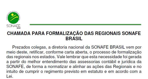 CHAMADA PARA FORMALIZAÇÃO DAS REGIONAIS SONAFE BRASIL